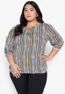 Plus Size 3/4 Sleeve Stripes Blouse