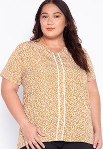 Plus Size Printed Blouse with Trimmings