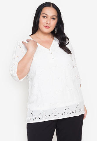 Plus Size V-Neck Button Front Eyelet Blouse