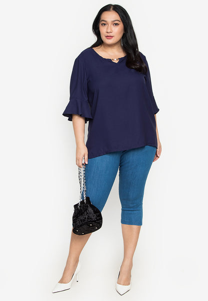 Plus Size Flare Sleeve Blouse with Crystal Neck Accessory