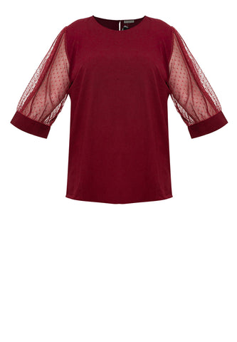 Plus Size Mesh Puff Sleeve Blouse
