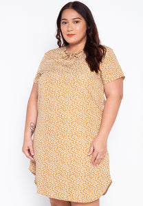 Plus Size Lace Up Printed Dress