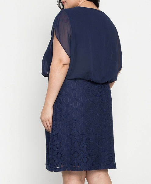Plus Size Blouson Lace Dress with Necklace