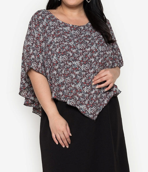 Plus Size Printed Overlay Dress