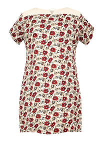 Plus Size Printed V-Cut Shift Dress