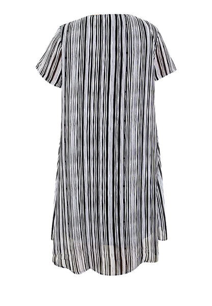 Plus Size Stripes Overlap Shift Dress