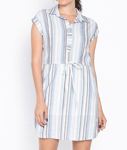 Sriped Drtawstring Shirt Dress