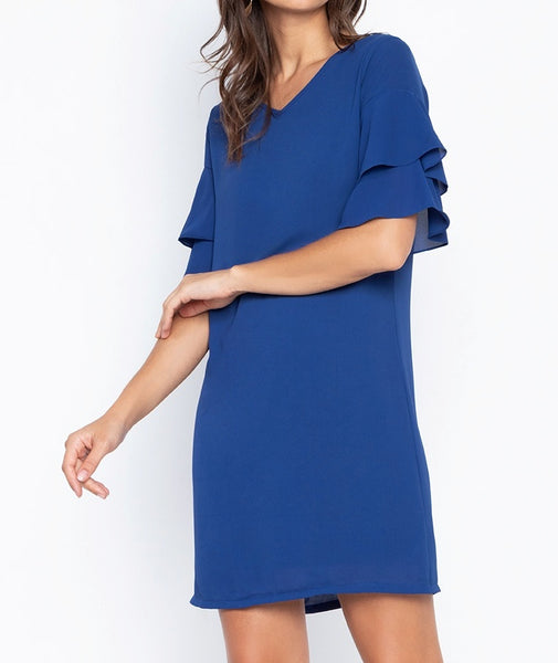 Tiered Flare Sleeve Georgette Shift Dress