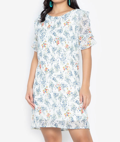 Printed Chiffon Shift Dress