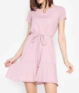 V Detail Flounce Hem Shift Dress