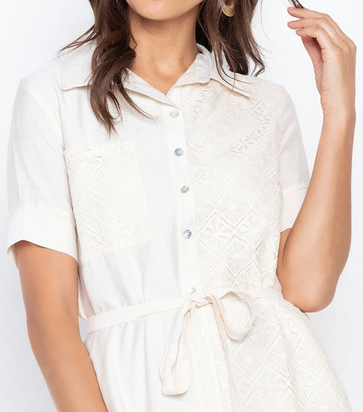 Lace Combination Shirt Dress