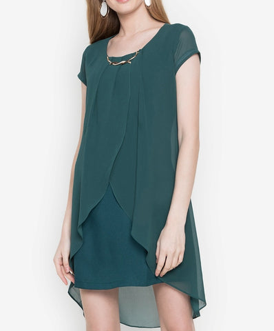 Overlap Shift Dress with FREE Necklace