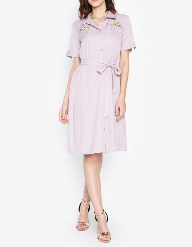 Embroidered Midi Tie Waist Shirt Dress