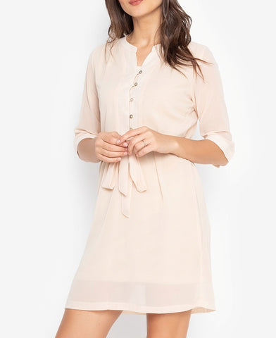 Button Down 3/4 Long Sleeve Dress