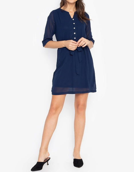 Button Down Quarter Sleeves Dress