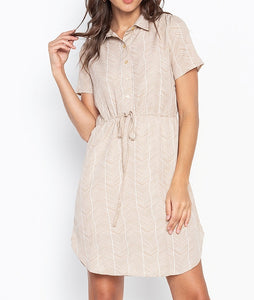Printed Shirt Dress with Adjustable Waist Drawstring