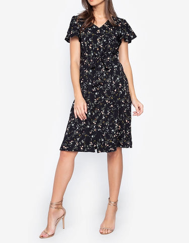 Printed V-neck Button Down Tie Waist Modi Dress