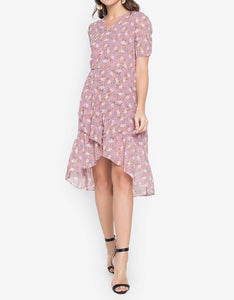 Printed Ruched Sleeve Overlap High-low Hem Dress