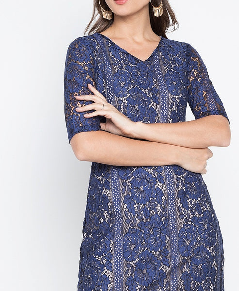 Scallop Sleeve & Hem Lace Dress
