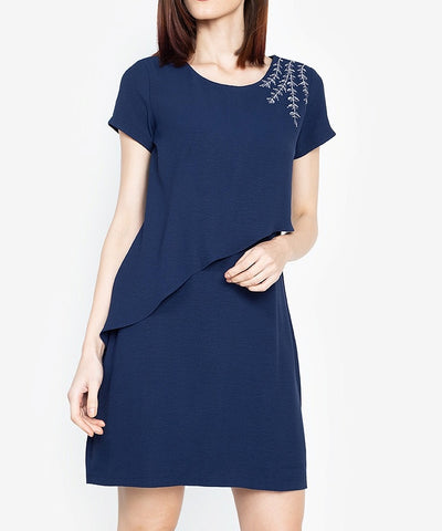 Embroidery Asymmetric Overlay Dress