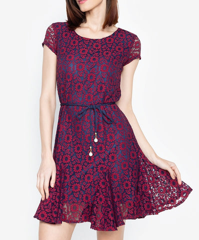 Lace Shift Dress with Pleated Hem and FREE Belt