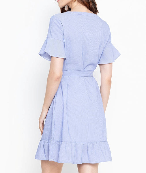 V-Cut Flare Sleeve Overlap Dress with Frills