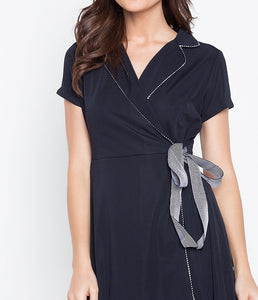 Textured Stretch Collared Overlap Wrap Tie Waist Dress