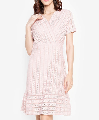 Overlap Wrap Trumpet Hem Lace Midi Dress