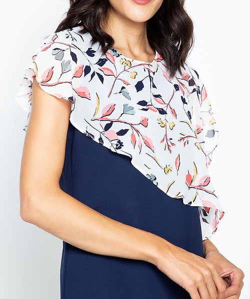 Printed Ovelray Flowy Dress