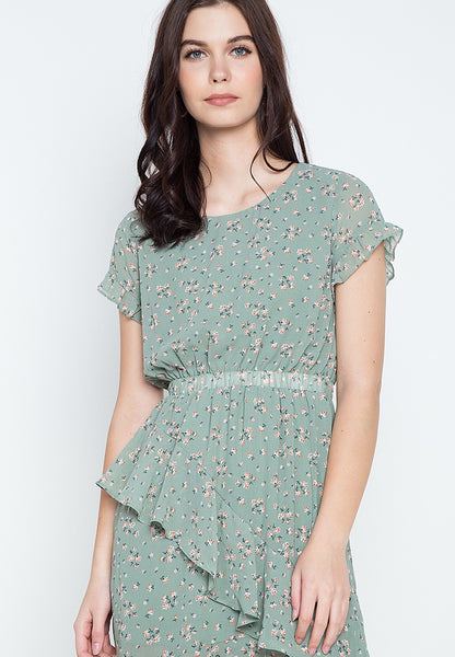 Printed Chiffon Midi Dress