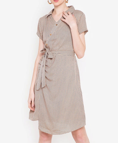 Printed Collared Diagonal Button Tie Waist Dress