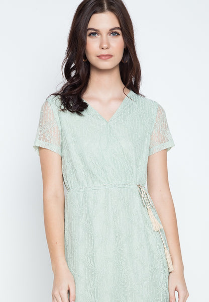 Overlap Drawstring Lace Dress