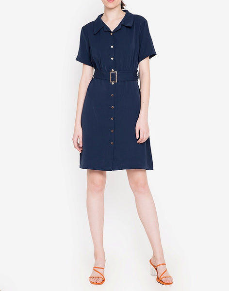 Collared Shirt Dress with FREE Belt