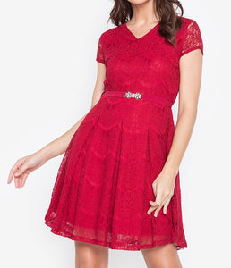 V-Neck Lace Dress with FREE Crystal Belt
