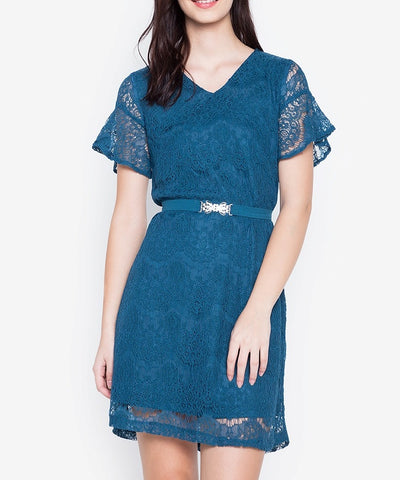 V-Neck Flare Sleeve Lace Shift Dress with Crystal Belt
