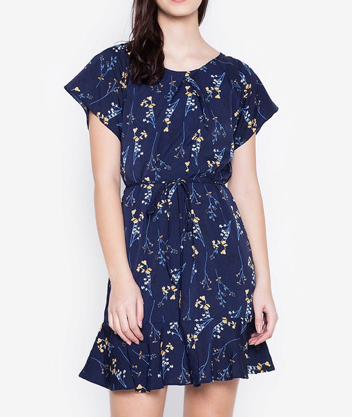 Floral Print Pleated Shift Dress