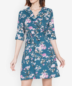 Printed Top Wrap Dress with FREE Pin