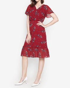 Printed Overlap Midi Dress with Flowy Hem