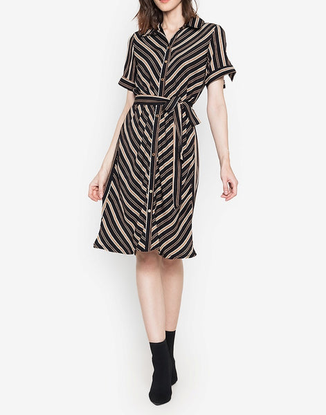 Striped Button Down Soft Satin Shift Dress