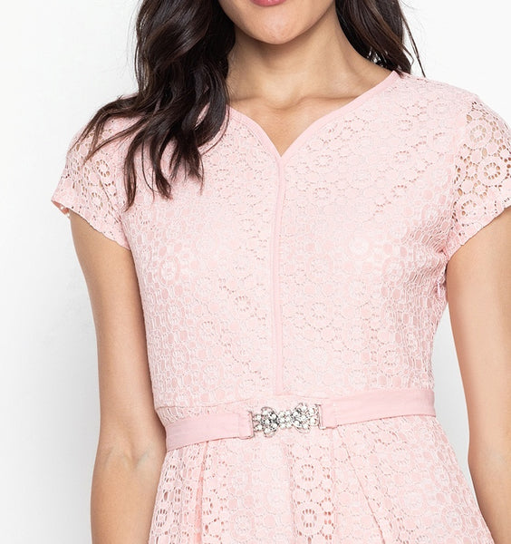 V-Cut Lace Dress with FREE Crystal Belt