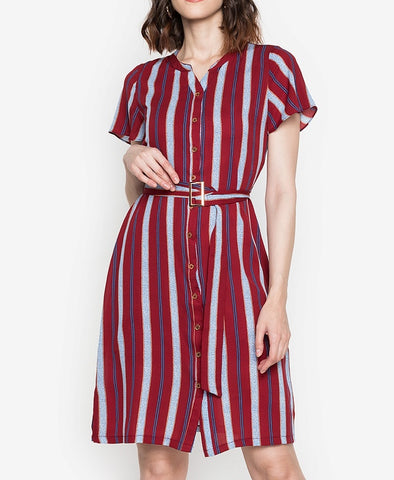 Button Down Stripe Dress with Belt