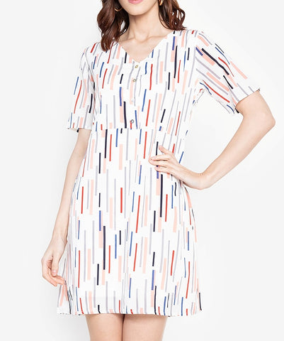 Button Down V-Neck Printed Dress