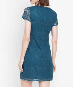 Lace Dress with Tone on Tone Flower Patches