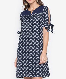 Printed Tie-Sleeve Shift Dress