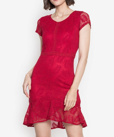 Lace Tiered Hem Dress with Trimmings