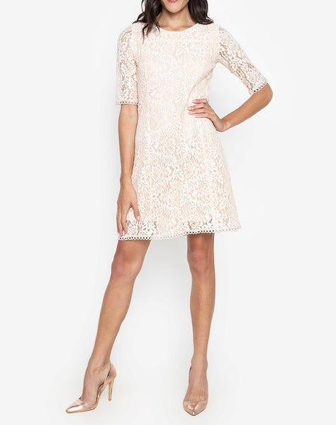Premium Lace 3/4 Sleeve Dress with Trimmings