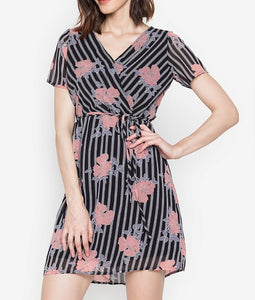 Printed Overlap Flowy Dress