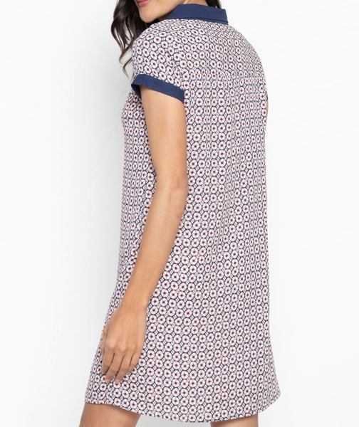 Collared Printed Contrast Shirt Dress