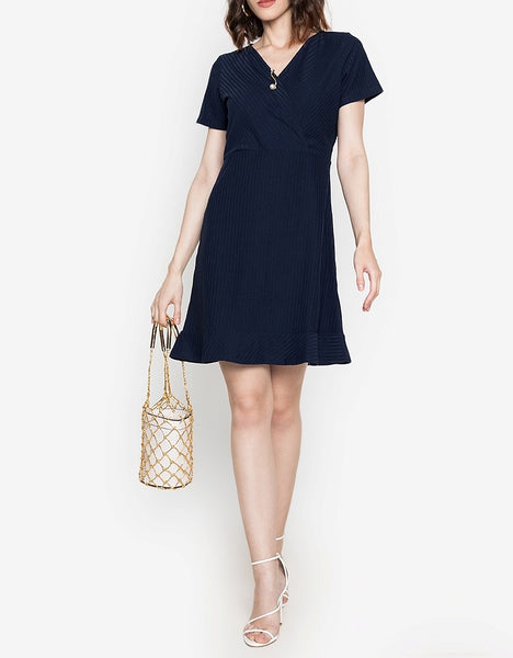 Overlap Textured Stretch Dress with FREE Pin