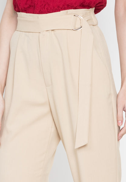 Gartered Slit Pants with D-Ring Belt